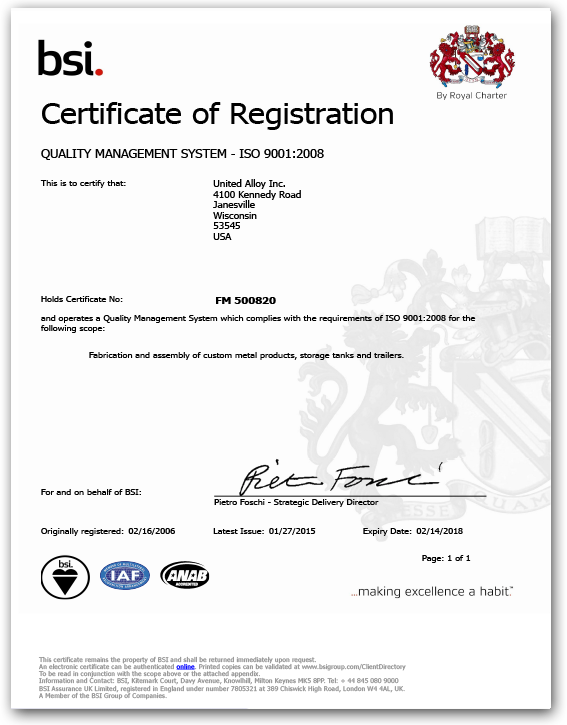 UIA ISO 9001:2008 Certificate
