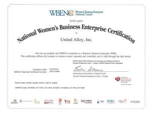 UAI WBENC 2015 Certificate